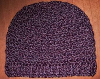 Girls Crochet Hat, Small, Deep Purple