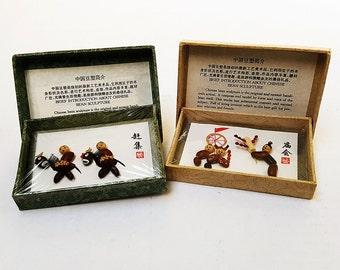 Set of Two 1970s Handmade Chinese Bean Art Sculptures