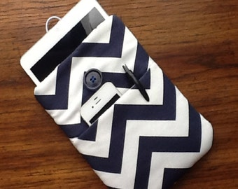 "Kindle Fire Cover, IPad Mini Cover, Nook Cover, Small Tablet Cover, IPad Mini Case, Kindle Case, Navy and White Chevron, 8 1/2"" x 5 3/4"""