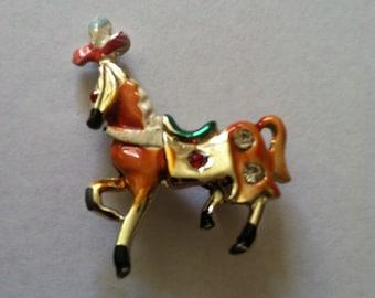 Vintage enamel circus horse pin