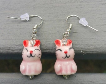 Handmade Pink Bunny Rabbit Earrings