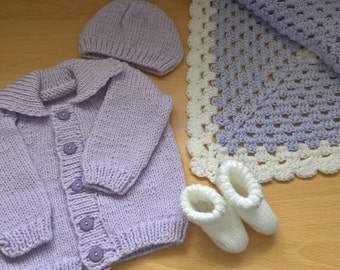 Handknitted Baby Gift set Size 0-3 months