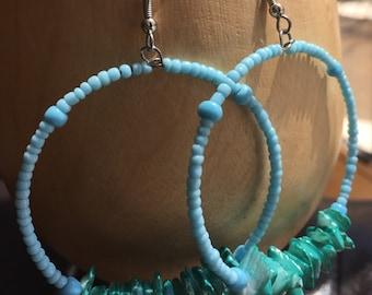 Baby blue beaded beads hoop earrings
