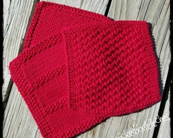 Red knitted dishcloth/face cloth set of 3