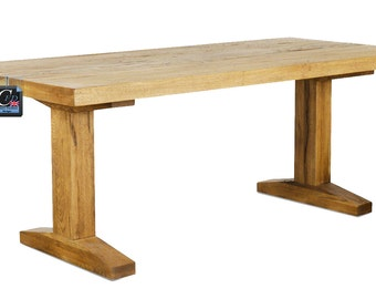 Simple Oak Pillar Dining / Kitchen Table : Seats 8