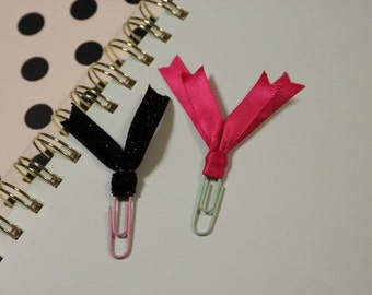 Pink/black ribbom paper clip