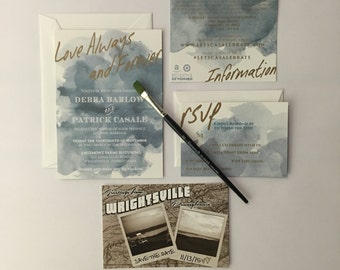 Watercolor Wash - Wedding Invitation Suite - Deposit To Get Started