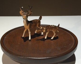 Vintage miniature porcelain figurines of mother deer and fawn