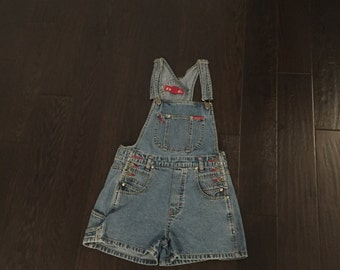 vintage jean overall shorts