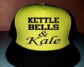 Kettle Bells & Kale Trucker Hat Gym Hat Workout Hat Exercise Hat Custom Trucker Hat Cute Tucker Hat Funny Workout Hat Gym Hat