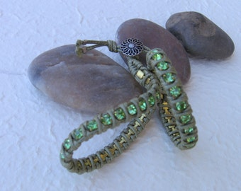 "Double small crystals bracelet Chan Luu ""Light Green"""
