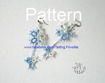 "Pattern earrings ""Camomile"". PDF Tatting pattern, tatted earrings, pattern and tutorial, tatting jewelry patterns"