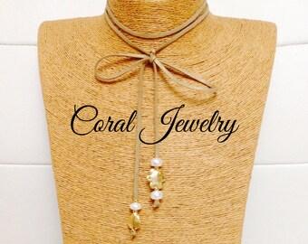 Choker with pearls and 18K vermeil spacer - Choker con perlas y enchapado en oro