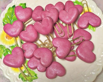 Shimmery petal pink puffy heart paperclip