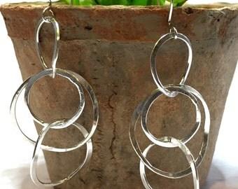 Sterling Silver Dangle Earrings, Multiple Hoop Earrings, Handmade Silver Earrings, Nickel Free Earrings, Item #1018