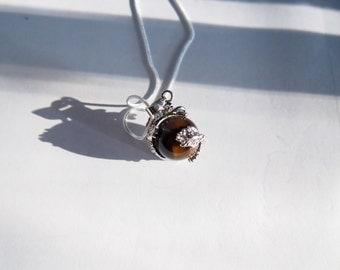 Tiger Eye Dragon Gemstone with Necklace Chain -- CraftNStuff
