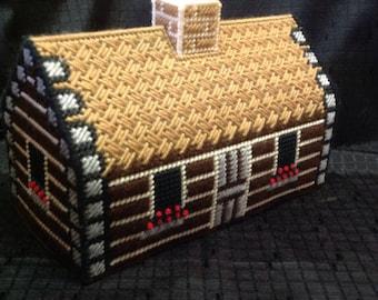 Log Cabin Tissue Box Cover Plastic Canvas