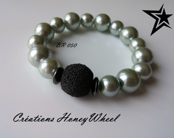 Pearl Pale Grey and lava stone bracelet