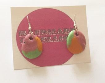 Pink, orange & Lime green marbled dangle earrings