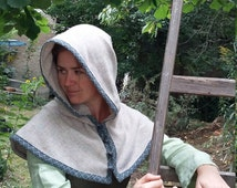 Middle Ages cowl to the button, middle ages, medieval hood, LARP, fantasy, wool, wool