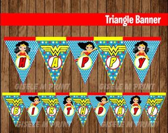 Wonder Woman Banner, Printable Wonder Woman Triangle Banner, Wonder Woman party Banner instant download
