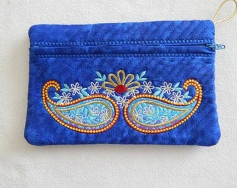 Royal blue cosmetic bag