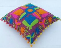 Suzani wool embrodred multi color  chakra cotton cushion cover hand made square 16x16 inches pillow case