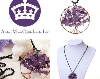 Handmade Natural Dark Shades Amethyst wire crochet 'Tree of Life' Pendant with black chain