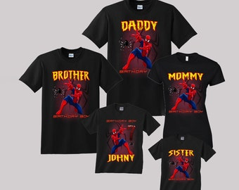 Spiderman Birthday Shirt Custom personalized shirts for all family, Black