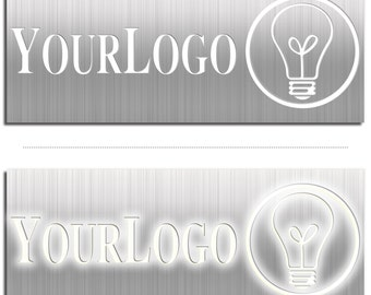 Backlit Business Sign, Glowing Logo Signage - Cut-Out Logo in Metal/Acrylic: Built-in LED Lighting, Professional & Unique Illuminated Signs