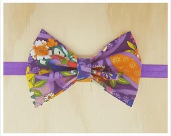 Bow headband - purple headband - purple floral headband - oriental headband - embellished headband
