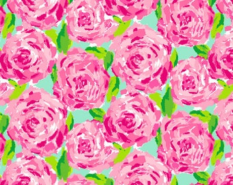 Lilly Inspired Roses Floral Printed Vinyl  - First Impressions Pattern -  Lilly Inspired Outdoor Vinyl & HTV