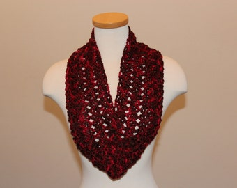 Crochet Autumn Infinity Scarf, Red and Brown Infinity Scarf, Light Weight Red Scarf, Red Love and Friendship Scarf