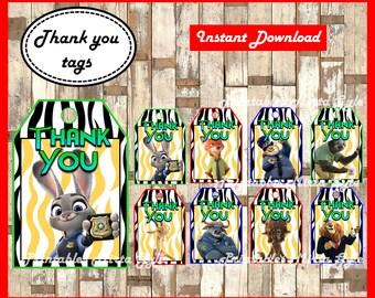 Zootopia Thank you Tags, printable Zootopia party Thank you Tags, Zootopia Thank you Tags