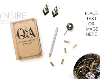 Styled Stock Photo | Desk Flatlay Gold and Black | Photography Digital Image