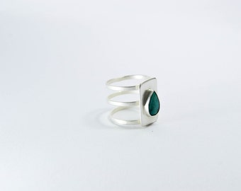 Allure Ring in Silver platted with Turquoise Stone