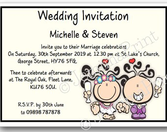 Printed Personalised Wedding Invitations x10 with envelopes