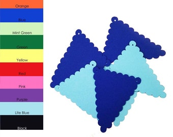 10 pack - Scallop Tringle Banner, Banner Paper, Triangle Scallop Paper, Banner Supplies, DIY Banners