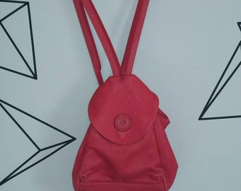 Red leather vintage DELANE backpack satchel