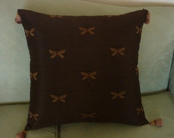 Chocolate dragonfly pillows w/tassel corners