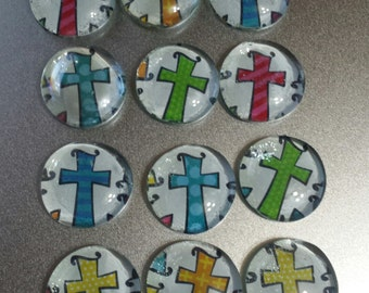 Colorful Cross Glass Bead Magnets