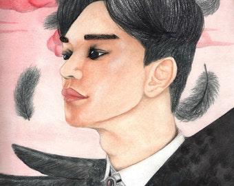 EXO Chen Kim Jongdae Crow Wings watercolor print by KT
