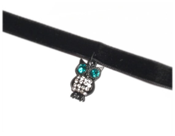 Black Velvet | Black | Matte Black | Turquoise Owl Charm | Rhinestones | Owls | Perfect for Halloween | DARK OWL