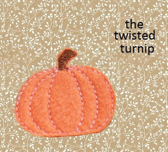 Cute Pumpkin Realistic Feltie Felt 4 Embroidery Design Instant Download 4x4 Hoop
