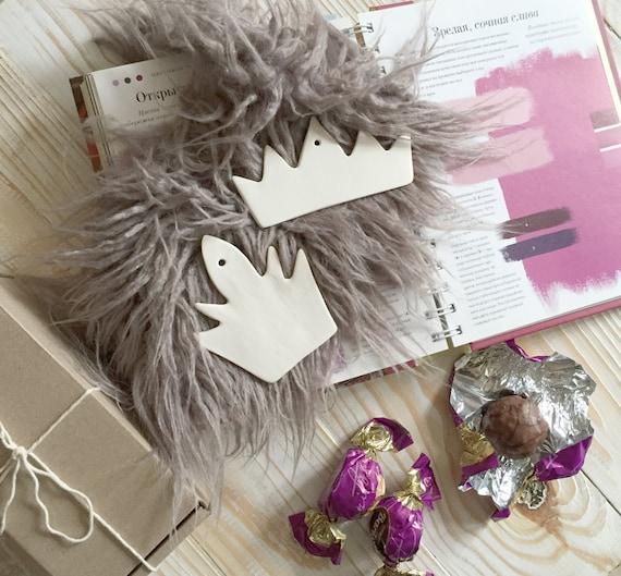 Wedding decor, Christmas ornament, white ornament, ornament Crown, ceramic decor, Nursery decor, valentine day, holiday Gift Set