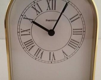 Tiffany & Co. Brushed Brass Desk Mantel Clock by Portfolio/Desk Clock/Mantel Clock/Brushed Brass Clock/Portfolio Clock/Tiffany and Co Clock