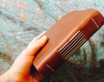 Handmade Leather Travel Journal Chestnut Brown with Brown Paper