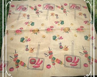 Retro Burlap Barbeque Tablecloth