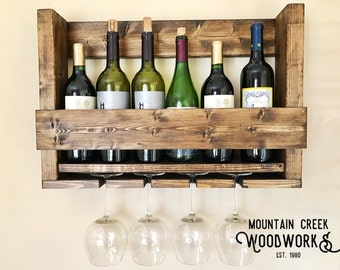 Wine Shelf, Wine Rack, Wine Glass Rack, Wooden Wine Shelf, Wooden Wine