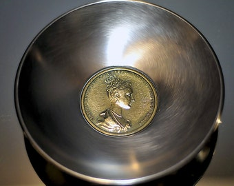1836 Prague King Queen Coronation Medal Mounted On An Italian Stainless Steel Dish.